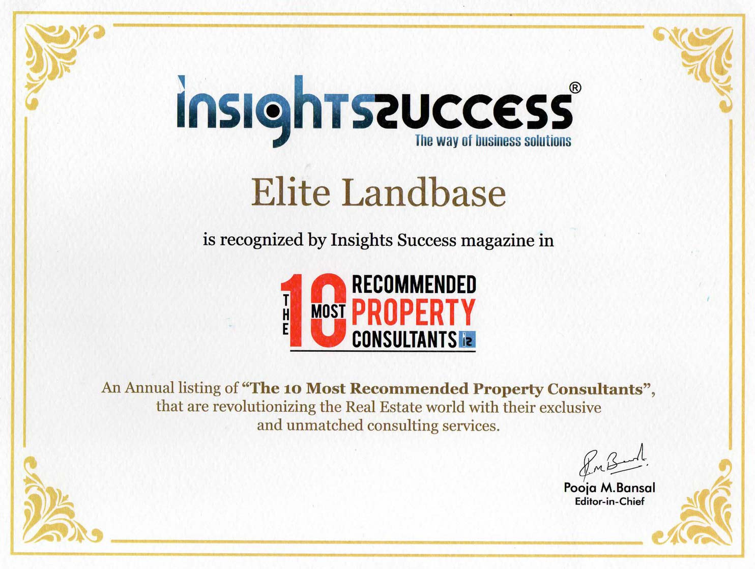 Certificate of Top Consultant