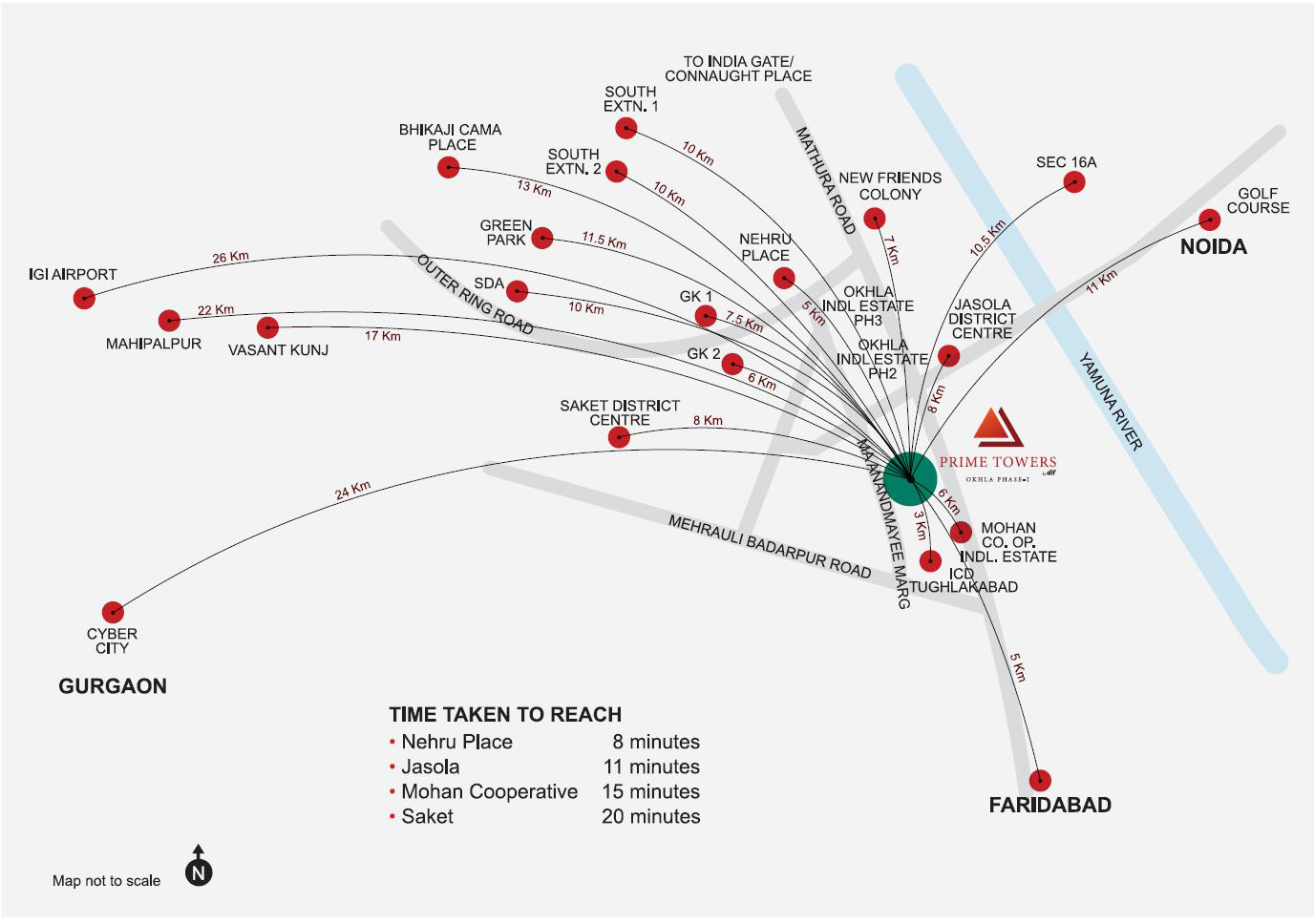 DLF Prime Towers Location Map