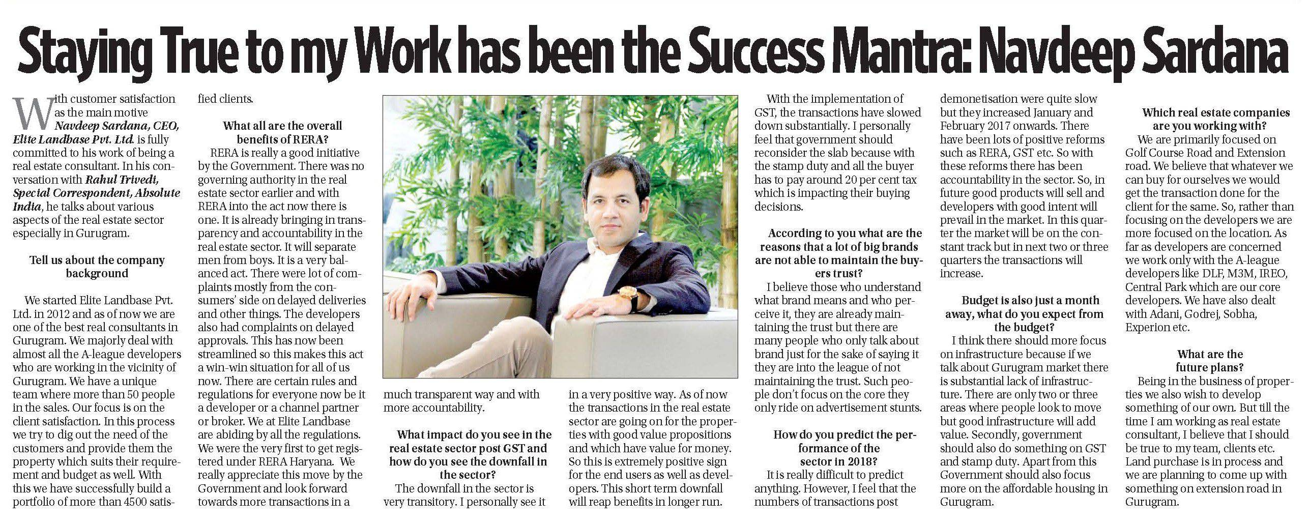 Staying True to my Work has been the Success Mantra:Navdeep Sardana